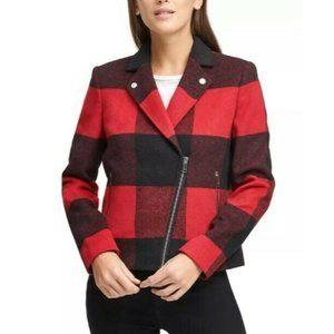 DKNY Womens Plaid Moto Jacket Biker Red XL Coat